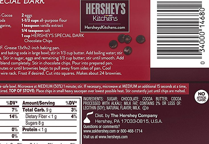 Hershey Dark Chocolate Chip Ingredients